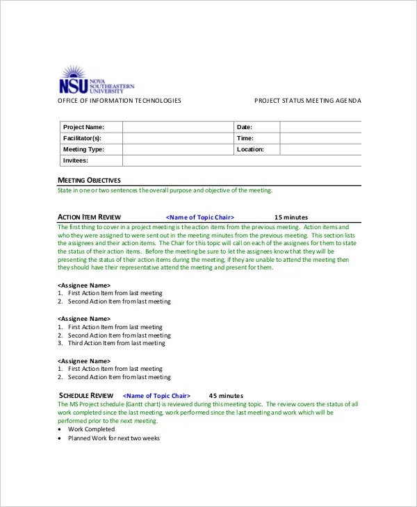 10+ Project Meeting Agenda Templates \u2013 Free Sample, Example Format