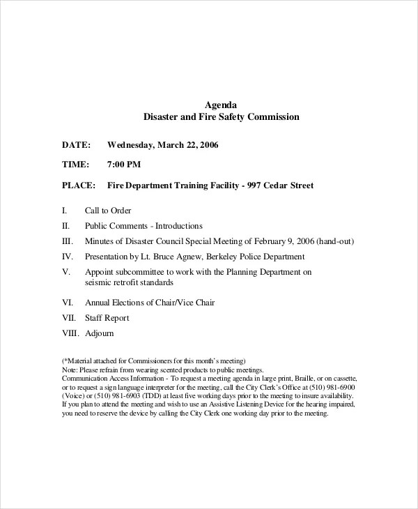 12+ Safety Meeting Agenda Templates \u2013 Free Sample, Example Format - Meeting Outline Sample