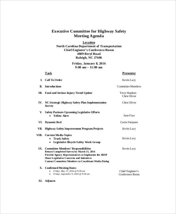12+ Safety Meeting Agenda Templates \u2013 Free Sample, Example Format