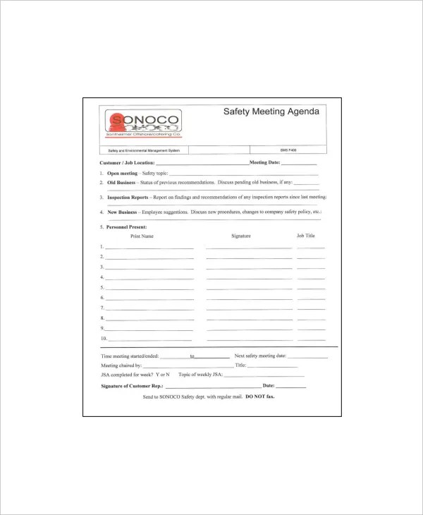 12+ Safety Meeting Agenda Templates \u2013 Free Sample, Example Format