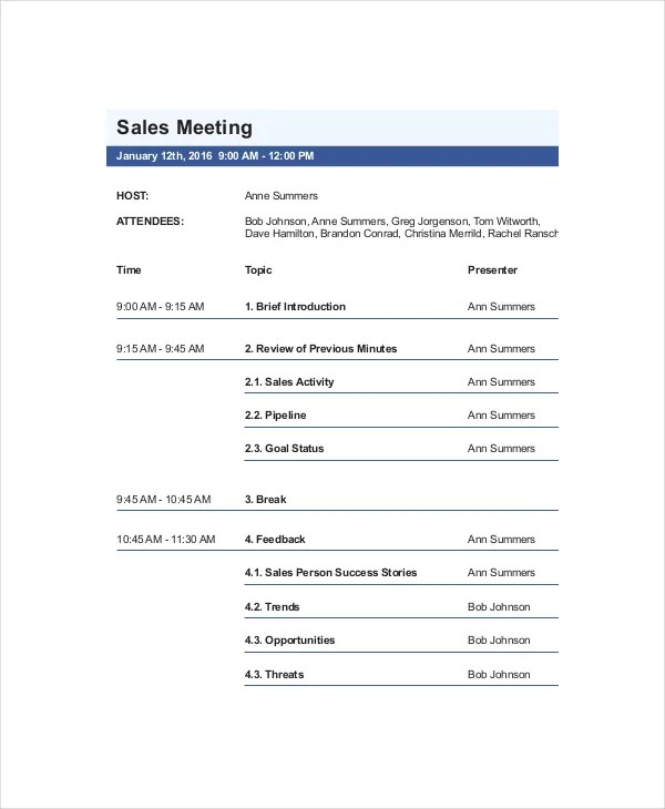 12+ Sales Meeting Agenda Templates \u2013 Free Sample, Example Format - example of agenda of meeting
