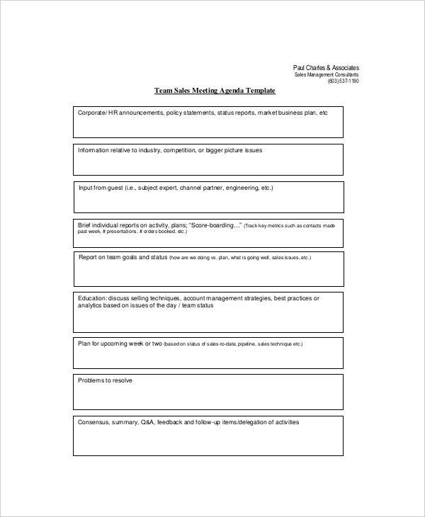 12+ Sales Meeting Agenda Templates \u2013 Free Sample, Example Format