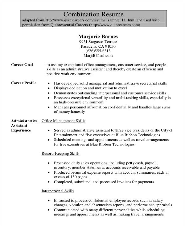 combination resume sample pdf