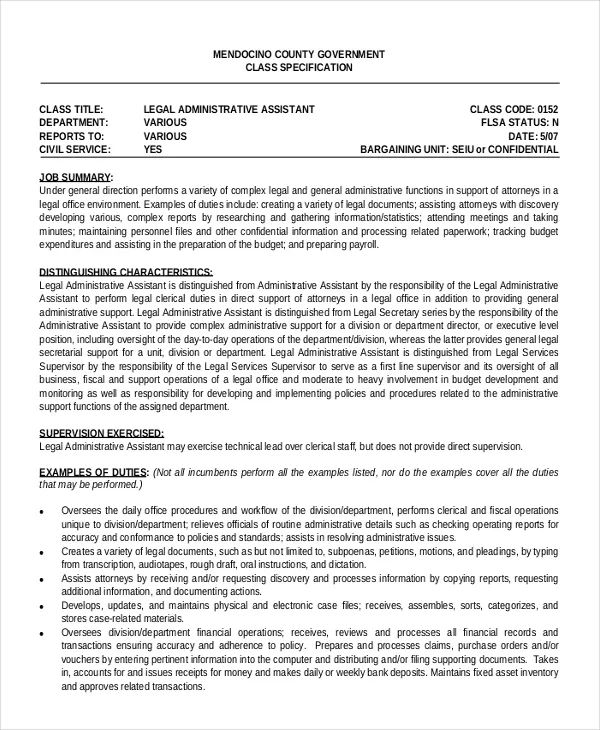 legal administrative assistant resume example