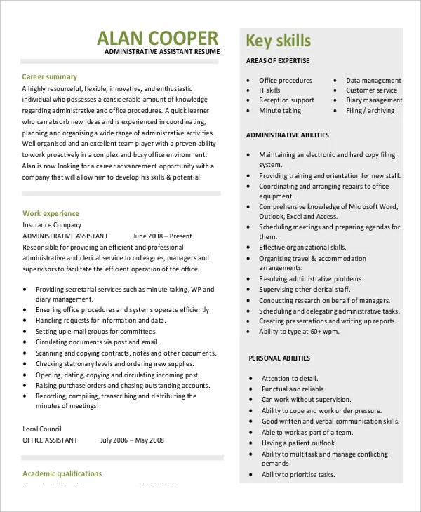 5+ Legal Administrative Assistant Resume Templates - PDF, Word