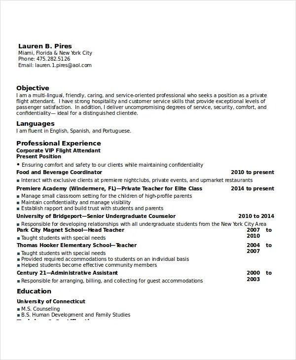 flight attendant resume format ideas gas bar attendant