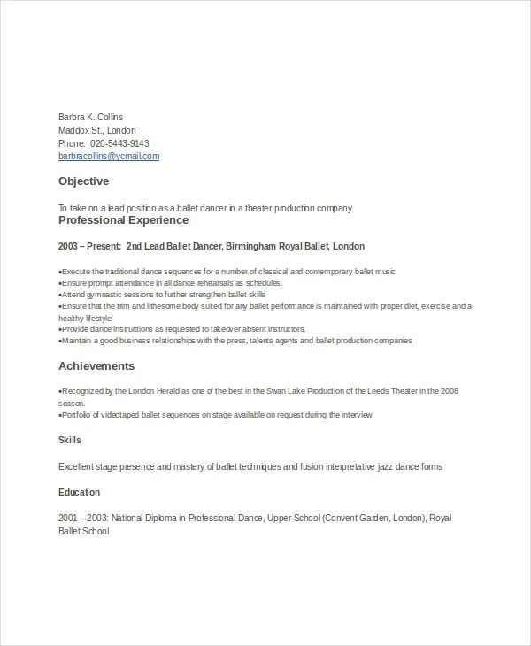 Dancer Resume Template - 6+ Free Word, PDF Documents Download Free - dance resume templates