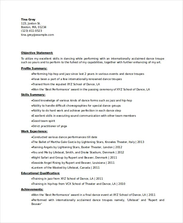 Dancer Resume Template - 6+ Free Word, PDF Documents Download Free - dance resume examples