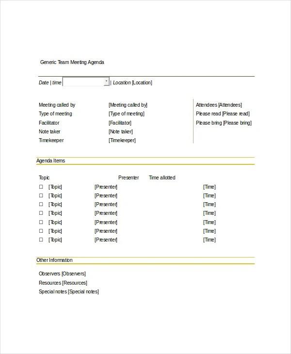 10+ Team Meeting Agenda Templates \u2013 Free Sample, Example Format - agenda of meeting template