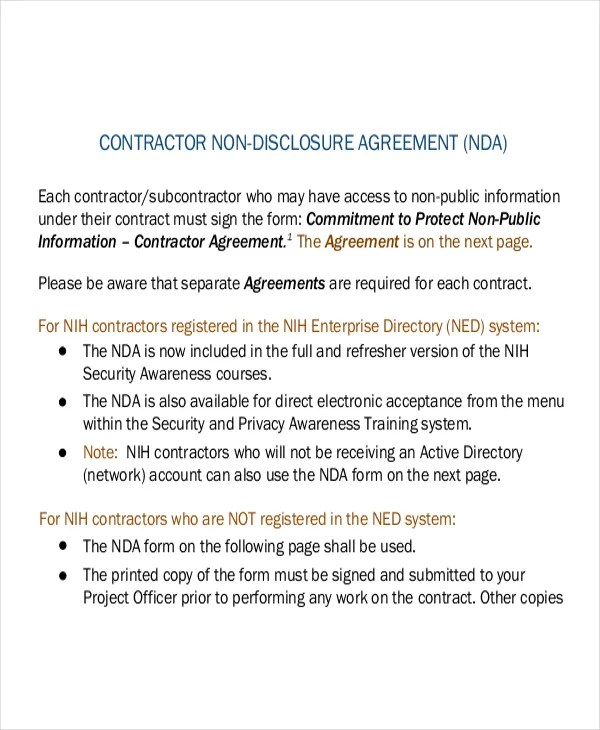 Non Disclosure Agreement Form u2013 9+ Free Word, PDF Documents - contractor confidentiality agreement