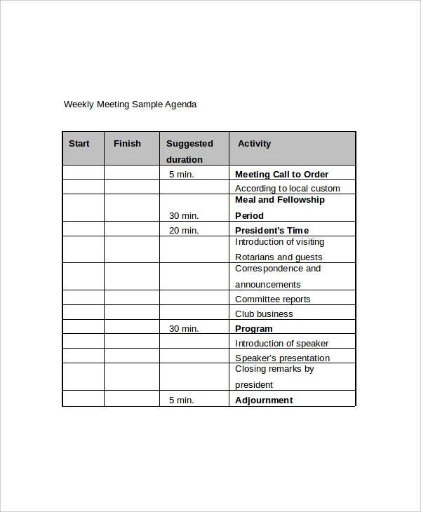 sample management meeting agenda