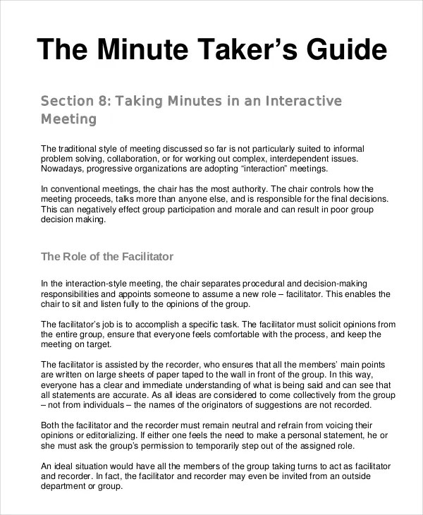 Meeting Minutes Templates \u2013 22+ Free Word, PDF Documents Download