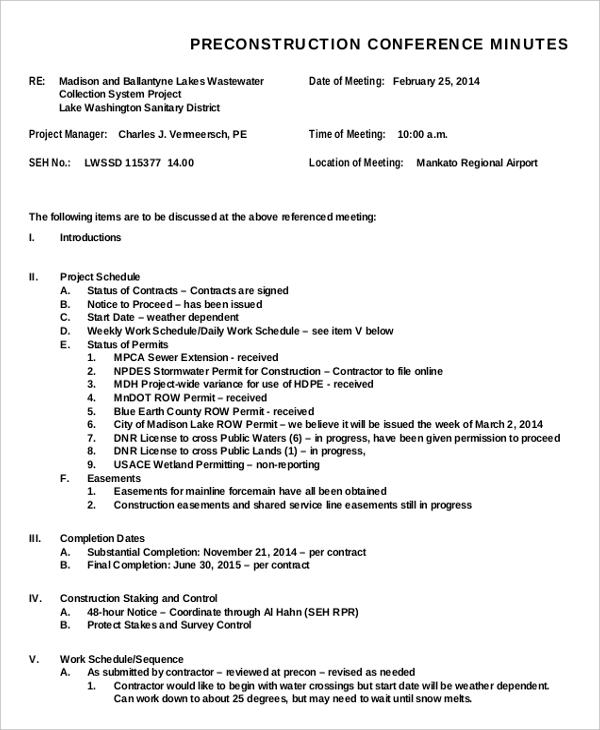 Meeting Minutes Templates \u2013 22+ Free Word, PDF Documents Download