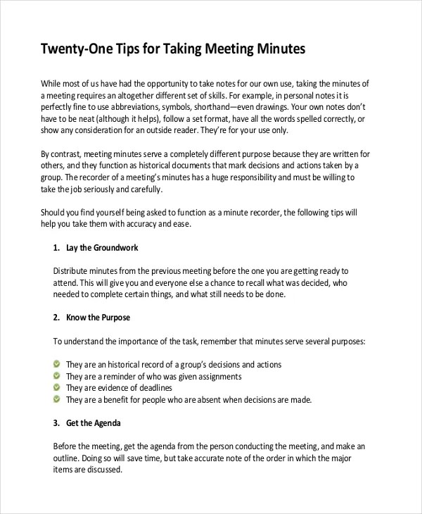Taking Minutes Template \u2013 10+ Free Word, PDF Documents Download