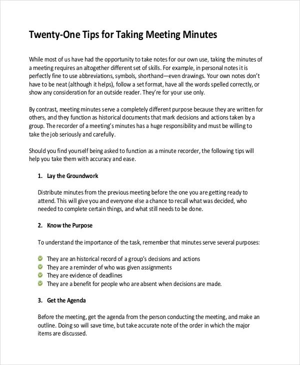 taking minutes in a meeting template