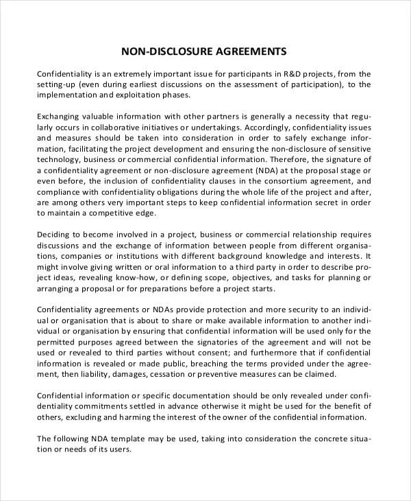 Simple Non Disclosure Agreement Form \u2013 13+ Free Word, PDF Documents - non disclosure agreement word document