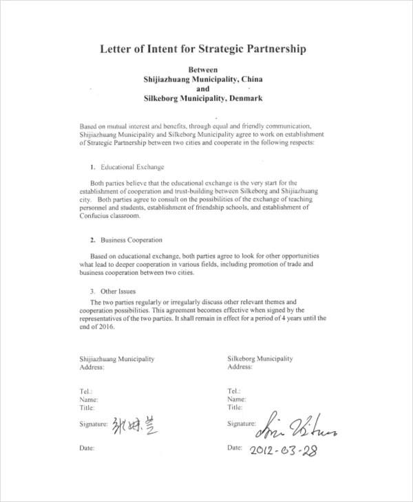 letter of intent partnership template - Jamesbiltt