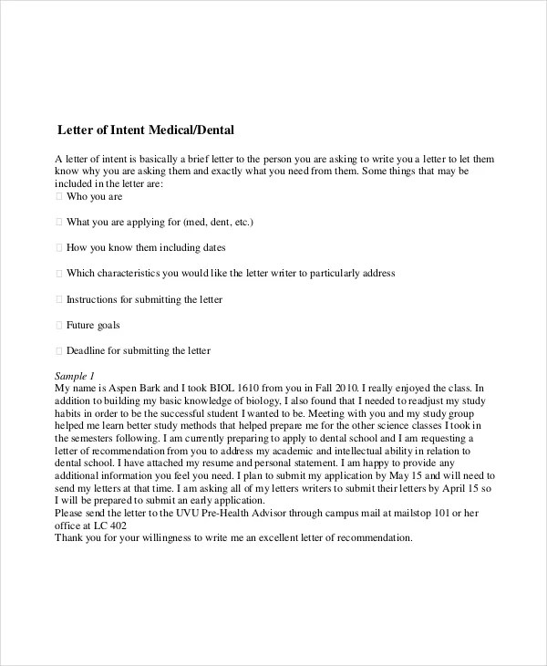 15+ Letter of intent Template - Free Sample, Example, Format - sample letter of intent medical school