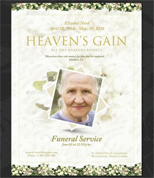 16+ Funeral Memorial Program Templates - Free PSD, AI, EPS Format - memorial program