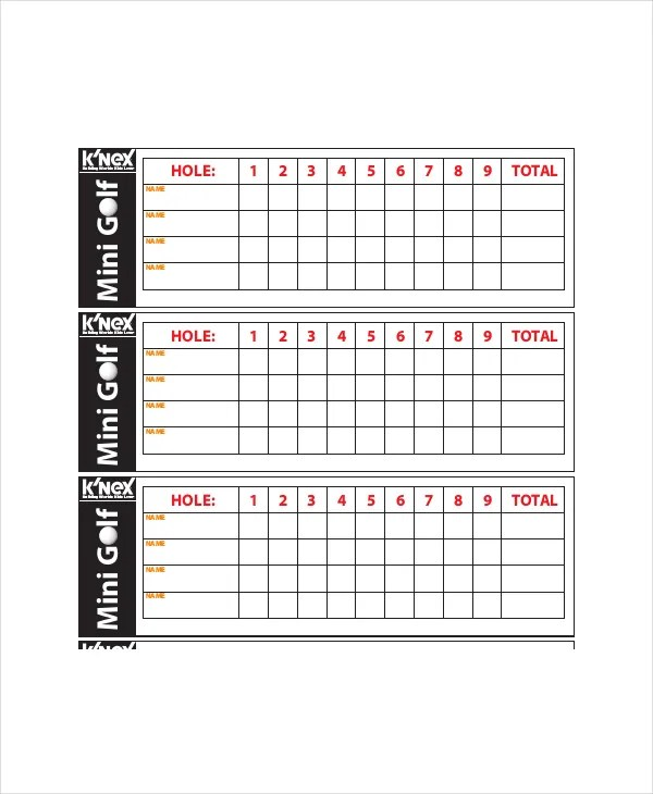 golf score sheet printable - Klisethegreaterchurch