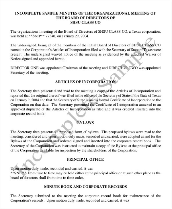 18+ Corporate Minutes Template - Free Sample, Example Format
