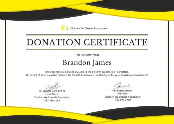 Donation Certificate Template - 8+ Free Word, PDF Documents Download