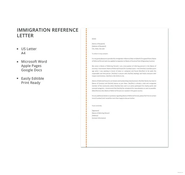 10+ Immigration Reference Letter Templates - PDF, DOC Free - Sample Recommendation Letter For Immigration