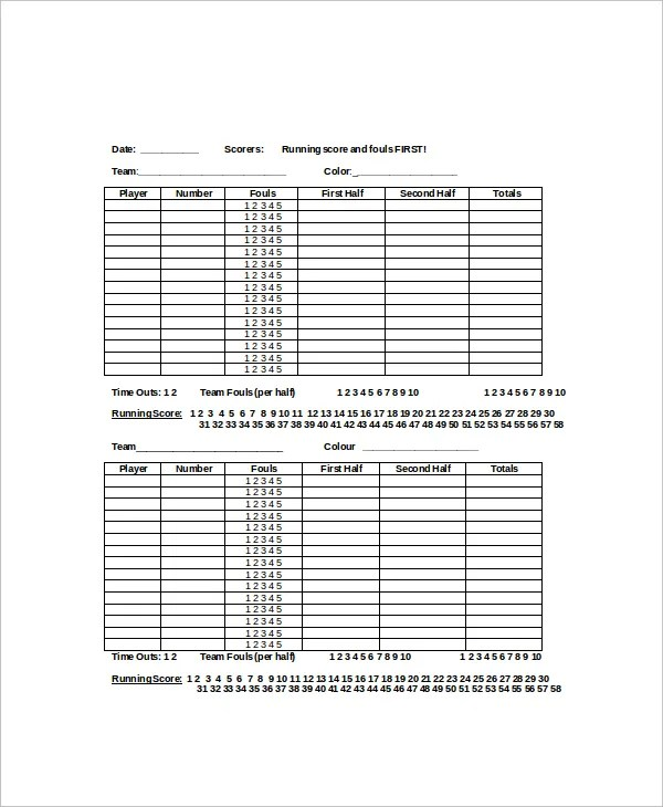 6+ Basketball Scoreboard Templates \u2013 Free Sample, Example Format - black and white basketball template