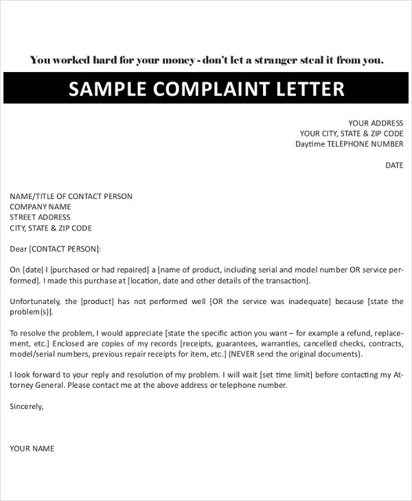 16+ Complaint Letters - Free Sample, Example Format Free  Premium - complaint letter examples