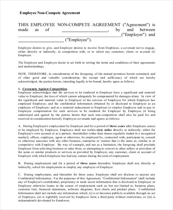 Employee Non-Compete Agreement \u2013 10+ Free Word, PDF Documents