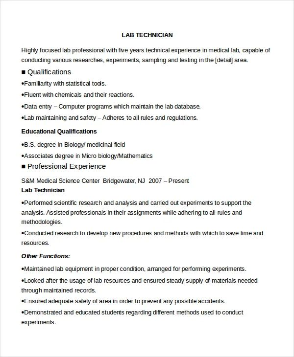 medical lab technician resume examples