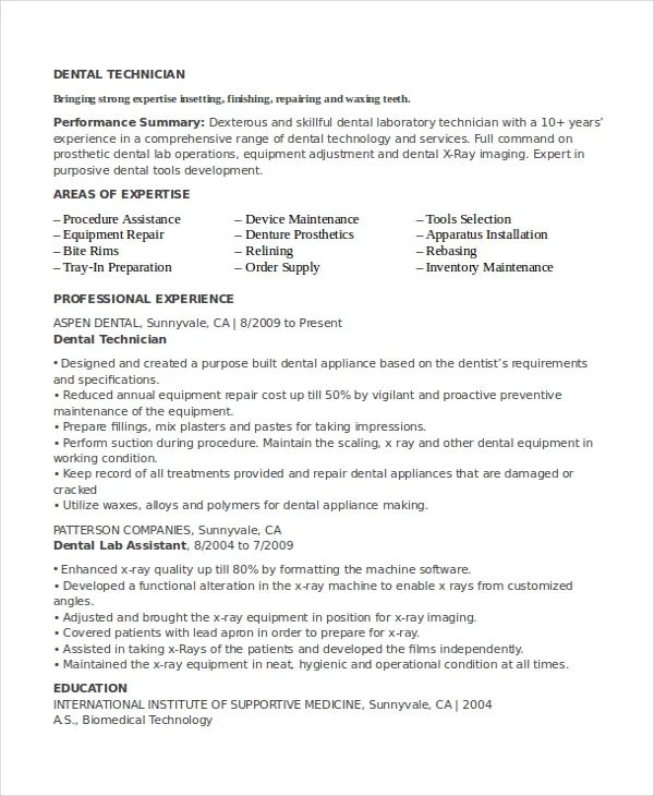 dental laboratory technician resume example
