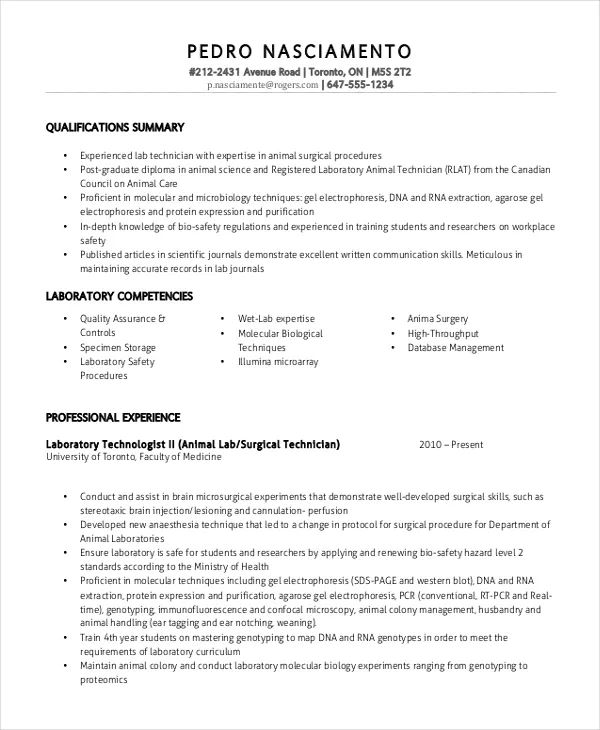 sample resume for laboratory technician