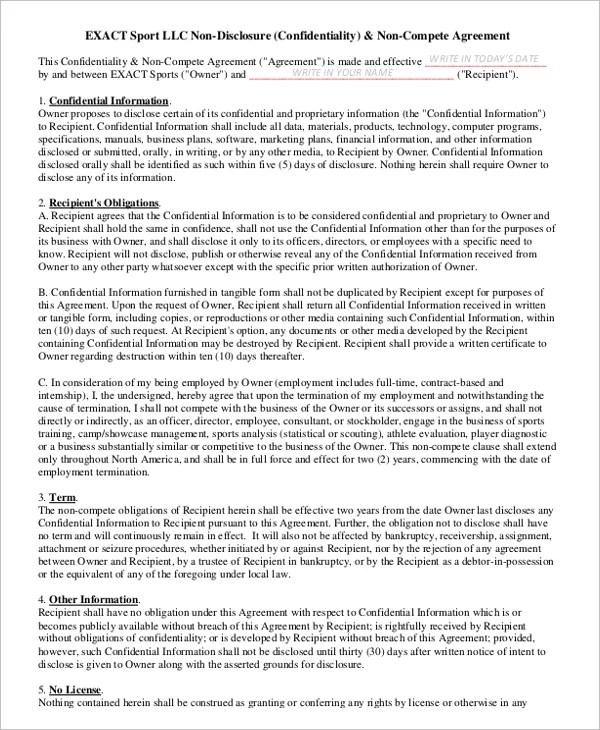 vendor non compete agreement - Doritmercatodos - non compete agreement template