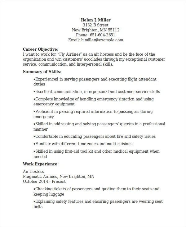 free sample hostess resume