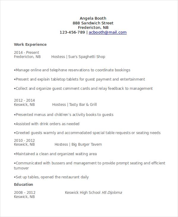 relevant experience sample resume