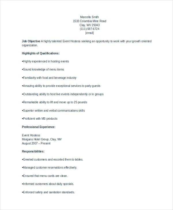 Restaurant Hostess Resume Examples - Examples of Resumes