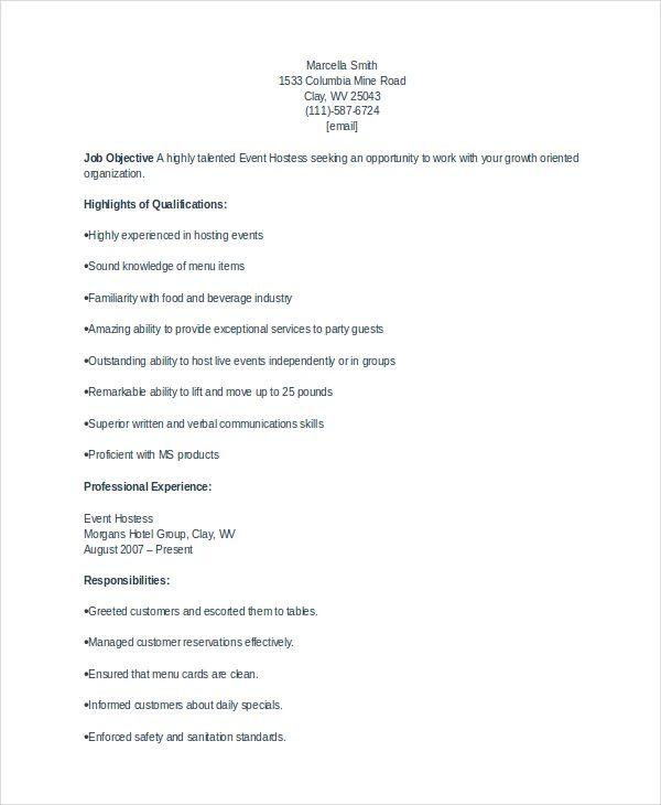 hostess description resume examples