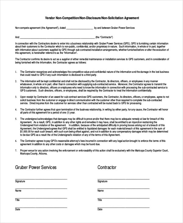 Contractor Non-Compete Agreement u2013 9+ Free Word, Pdf DocumentsWord - vendor confidentiality agreement