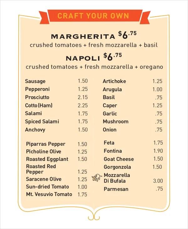 30+ Menu Templates - Free Sample, Example, Format Free  Premium - Sample Pizza Menu Template