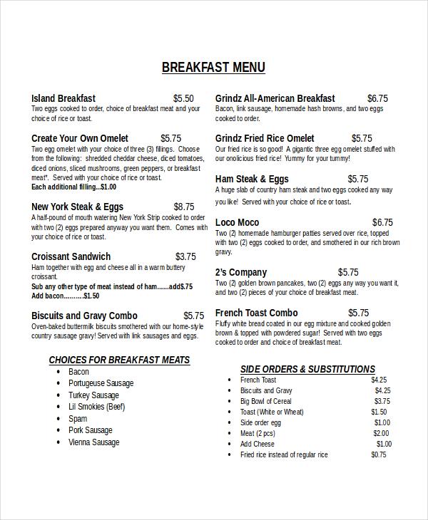 30+ Menu Templates - Free Sample, Example, Format Free  Premium - sample breakfast menu template