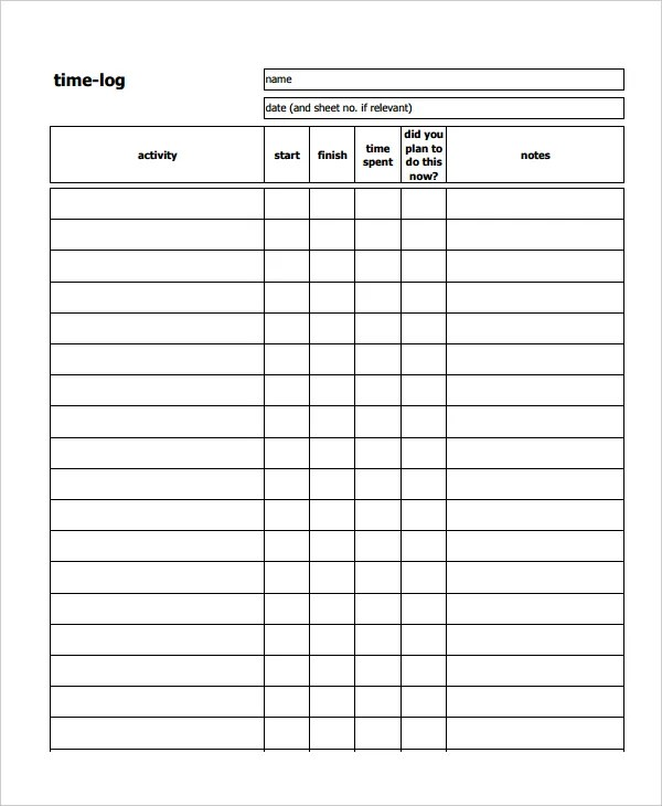 Time Log Sample Call Log Template Pdf Call Sheet Template Free