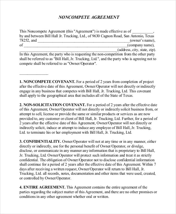 Non-Disclosure Non-Compete Agreement \u2013 10+ Free Word, PDF Documents