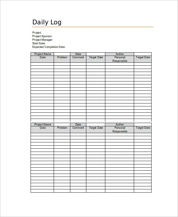 daily log template - Towerssconstruction