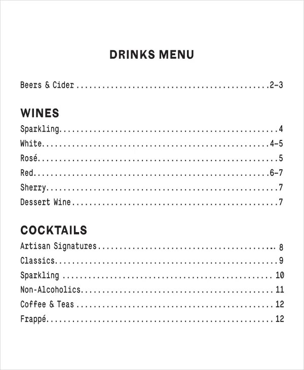 Sample Drink Menu Template - staruptalent -