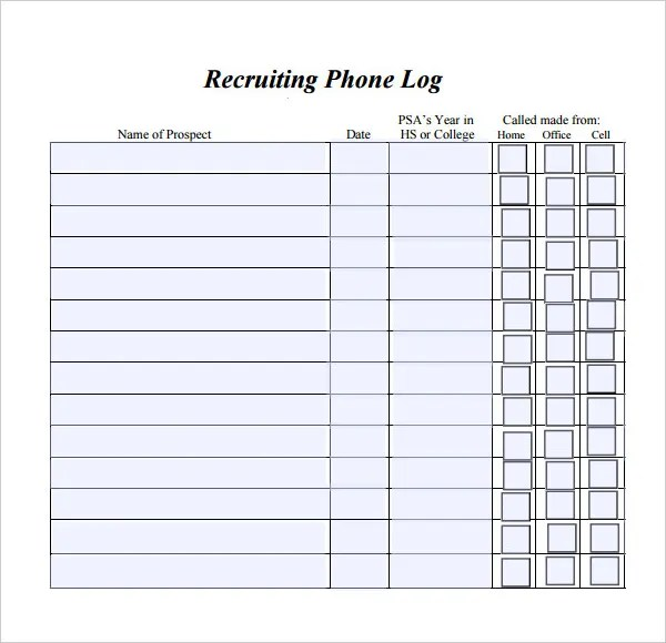 phone log template word - Selol-ink