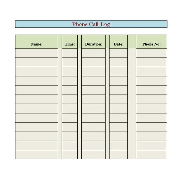 How To Create Call Log Template madebyrichard - phone call sheet template