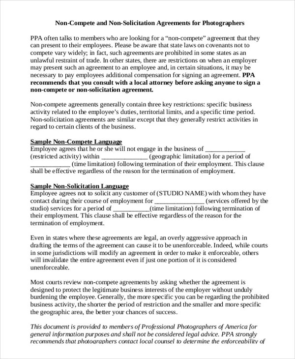 Simple Non-Compete Agreement \u2013 9+ Free Word, PDF Documents Download - non compete agreement template