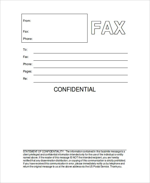 11+ Cover Sheet Templates - Free Sample, Example, Format Free - fax form template