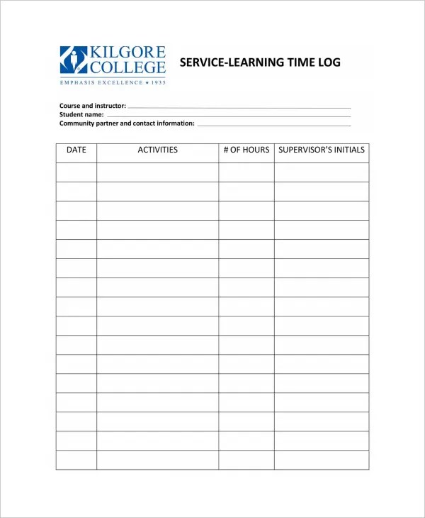 Log Template In Pdf Customizable Log Sheet For Various Small - time log sample
